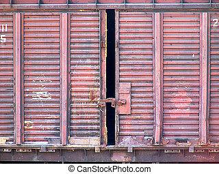 Wagon door 1 - A freight train car door closeup