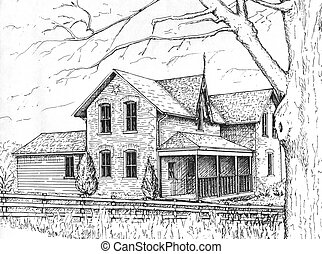 Farm House - pen and ink drawing of a typical Victorian era...