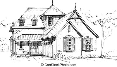 French Country style house - pencil drawing of an...