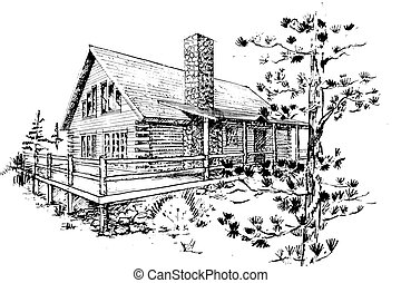 Log house - pen sketch of an architectural design for a...