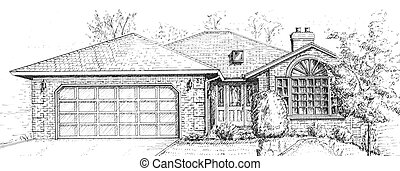 New house - Architectural pencil drawing of a design for a...