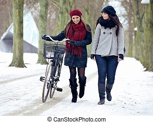 Two Friends  Walking Together on a Snowy Outdoors