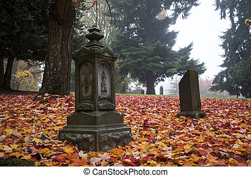Old Pioneer Cemetery in fog - Red autumn leaves in an old...