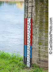 Water level measure - A water level measure on a brick wall...