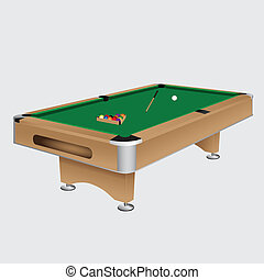 Pool table with balls and cue. Vector illustration.