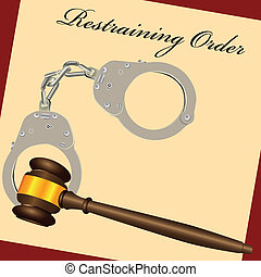 Restraining Order with the court hammer and handcuffs Vector...