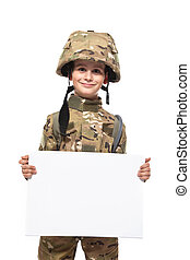 Young soldier holding a poster - Young Boy Dressed Like a...