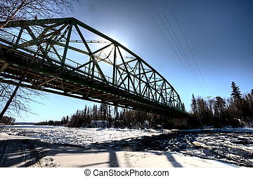 Churchill River in Winter Saskatchewan Canada bridge