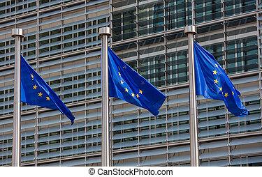 europeu, Bandeiras, frente, Berlaymont, predios, sede