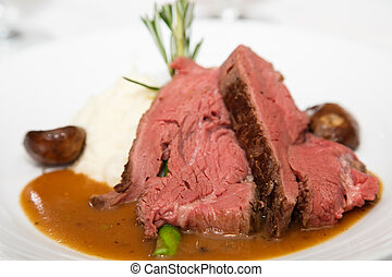 Rare Prime Rib with Mushroom Gravy - Slices of rare prime...