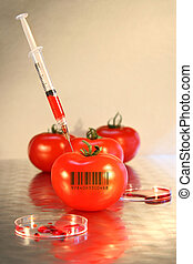 Close-up of syringe in tomato