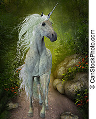 White Unicorn - A beautiful white Unicorn trots down a...