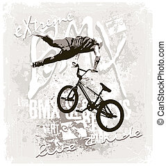 BMX extreme free style - bicycle free style vector for shirt...