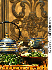 Dries herb leaves for soothing green tea