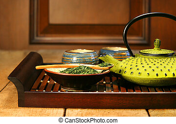Green cast iron teapot - Cast iron teapot ready to make a...