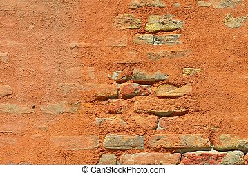 red brick wall texture - Background off old retro red brick...