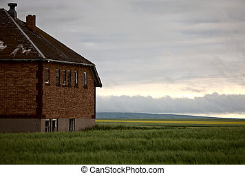 Abandoned School House in Saskatchewan Canada prairie