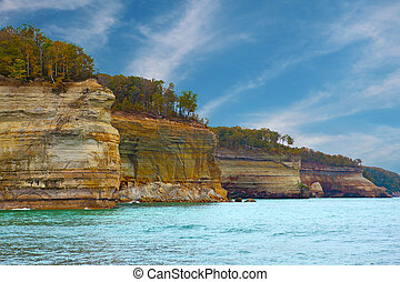 Pictured Rocks Cliffs National Lakeshore near Munising...