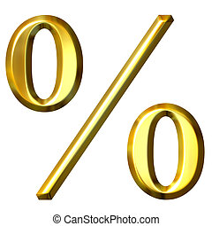 3d Golden Percentage Symbol