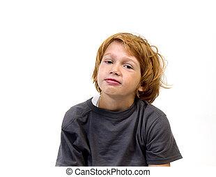 Strawberry Blonde Boy - Strawberry blonde boy in gray...