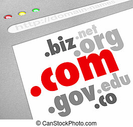 Dot-Com Domain Name Suffixes Website Registration - A...