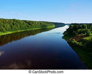 River land 2 - A river, a forest on a hill reflecting in...