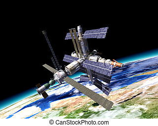 Space station in orbit around Earth WIth large portion of...