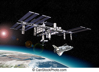 Space station in orbit around Earth, with Shuttle with some...