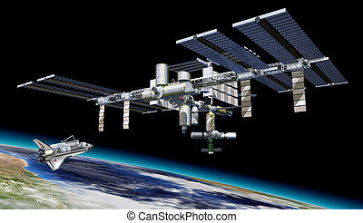 Space station in orbit around Earth, with Shuttle A portion...