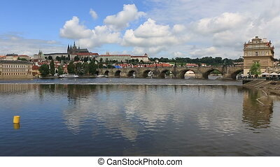 Charles Bridge medieval bridge in Prague on the River Vltava...