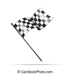 checkered flag - illustration of a checkered flag waving in...