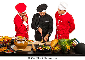 Teacher chef with students - Teacher chef teaching students...