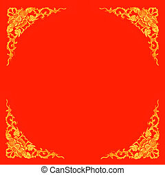 floral pattern frame-red