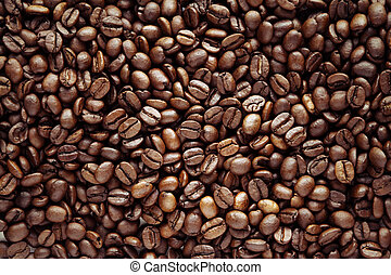 Coffee beans - Closeup of roasted coffee beans