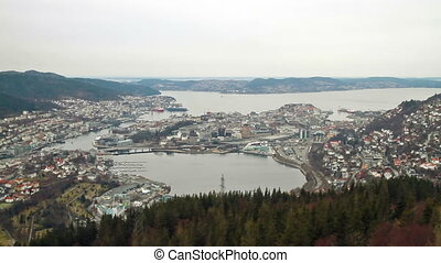 View from the cabin funicular Bergen, Norway