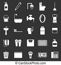 Bathroom icons on black background, stock vector