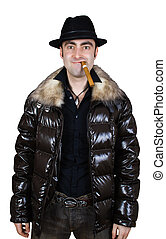 crazy man in hat with cigar