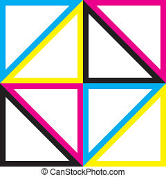 Cyan, Magenta Yellow Black CMYK triangles composing square shape