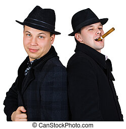men in hat with cigar isolated over white with clipping path