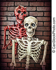 Temptation - An innocent skeleton with the devil riding on...