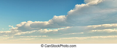 Blue sky with clouds front on the right. Computer generated...