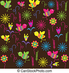 Cute pattern with bird and flower for the design of childrens clothes, packaging, cover the dishes and other purposes, vector