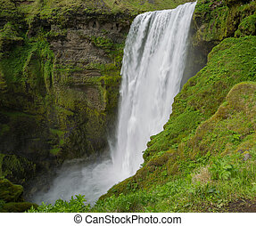 Skogafoss waterfall - Middle height view of skogafoss...