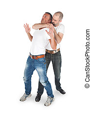 Man attacking from another man, isolated on white