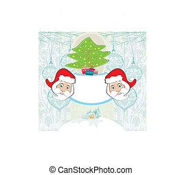 Abstract,  Claus, boompje, kerstman, Kerstmis, kaart