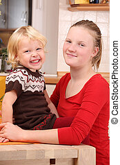 Happines - Two happy girls in the kitchen