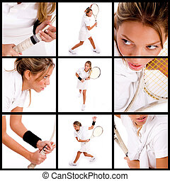 Tennis collage - many images of a tennis player in a collage...