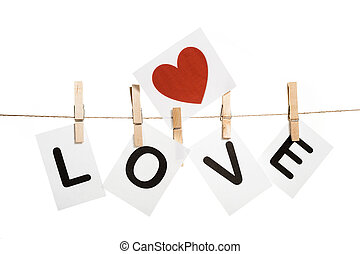 Message on clothespins - Love message held by clothespins