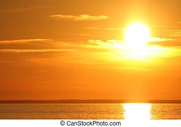 sunset at midsummer in skandinavia