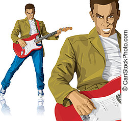 Punk With The Guitar - Vector punk man with the guitar. All...